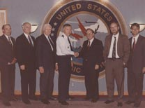 Starting second from left: Alton Frye, Townsend Hoopes, General Habiger, Jeremy Stone, Matthew Bunn, Charles D. Ferguson