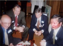 (L-R) James Woolsey, former CIA director; Michael Armacost, then president of Brookings;  James Sasser, former ambassador to China; and Zhou