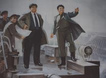 Socialist Realism Portrayal of Kim Il-Sung and his son Kim Jong Il
