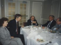 Faridzadeh at the Woodrow Wilson Center during this visit. (L-R) Haleh Esfandiari, later arrested in Iran; Mike Van Dusen, Deputy Director of the Center; Faridzadeh; William Miller; Jeremy Stone.